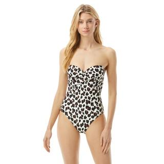 Kate Spade Molded Cup Bandeau One Piece Swimsuit - Fiji Feline