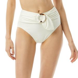 Kate Spade Belted High Waist Bikini Bottom - Textured Solids