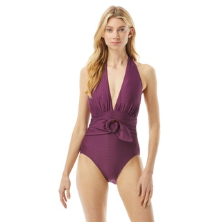 Kate Spade Belted Plunging Halter One Piece Swimsuit -Textured Solids