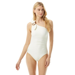Kate Spade Buckle One Shoulder One Piece Swmisuit - Textured Solids