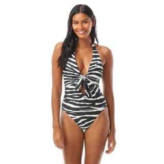 Vince Camtuo Tie Front One Piece Swimsuit - Zebra