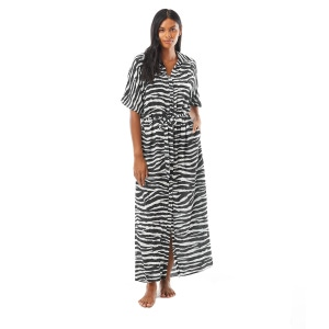 Vince Camuto Belted Maxi Shirt Dress - Zebra