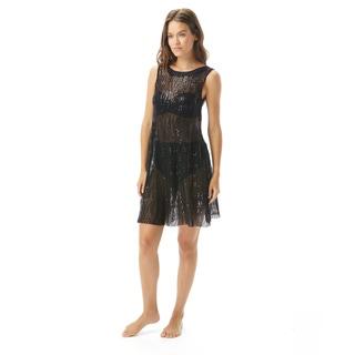 Carmen Marc Valvo High Neck Sequined Cover Up Dress - Monaco Tides