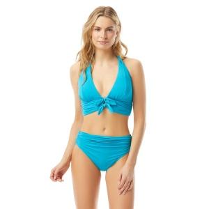 Carmen Marc Valvo Ruched Halter Bow Front Bikini Top - Sunlit Seas