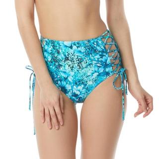 Carmen Marc Valvo Lace Up High Waist Bikini Bottom - Coral Reef Garden