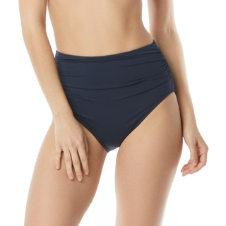 Carmen Marc Valvo Shirred High Waist Bikini Bottom - Tropical Coast