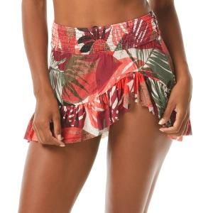 Carmen Marc Valvo Smocked Asymmetrical Swim Skirt Bottom - Secret Jungle