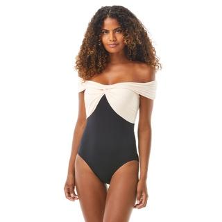 Carmen Marc Valvo Off the Shoulder One Piece Swimsuit - Ocean Icon
