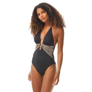 Carmen Marc Valvo Deep V-Neck One Piece Swimsuit - Sunny Borders