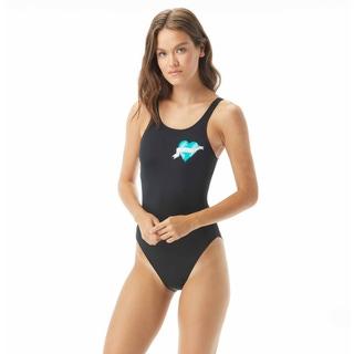zero waste daniel high neck one piece swimsuit - earth