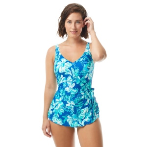 Roxanne Bra Sized V-Neck Sarong One Piece Swimsuit - Tropical Melody