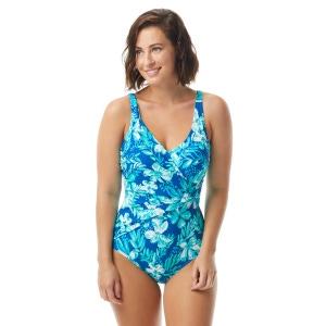 Roxanne Bra Sized Shirred Surplice One Piece Swimsuit - Tropical Melody