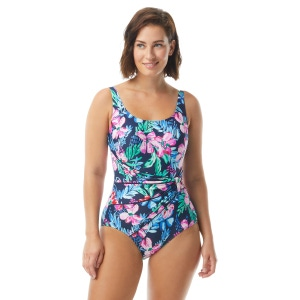Roxanne Bra Sized Draped Sash One Piece Swimsuit - Tropical Melody