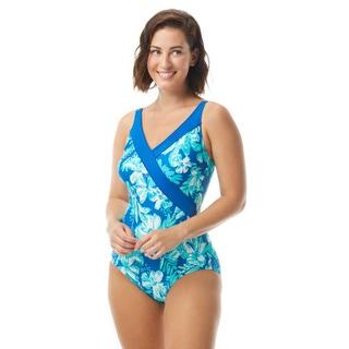 Roxanne Bra Sized Surplice One Piece Swimsuit - Tropical Melody