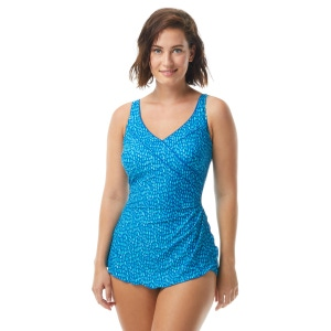 Roxanne Bra Sized Pleated Surplice Sarong One Piece Swimsuit - Pretty Pebble
