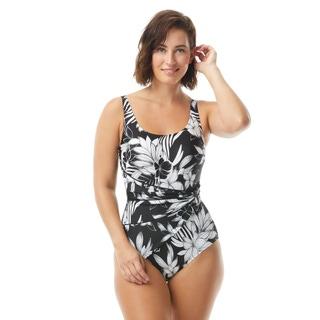 Roxanne Bra Sized Draped Sash One Piece Swimsuit - Monotone Flower