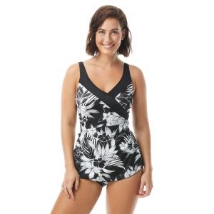 Roxanne Bra Sized Pleated Surplice Sarong One Piece Swimsuit - Monotone Flower