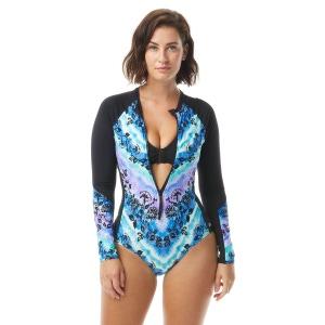 Beach House Sport Sculpt Long Sleeve Zip Front One Piece Swimsuit - Tie Dye For