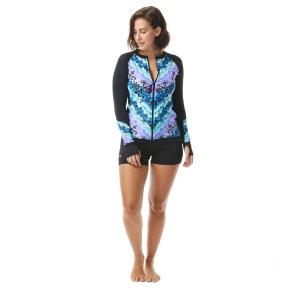 Beach House Ava Zip Front Rash Guard - Tie Dye For