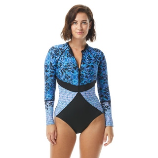 Beach House Sport Sculpt Long Sleeve Zip Front One Piece Swimsuit - In Tandem