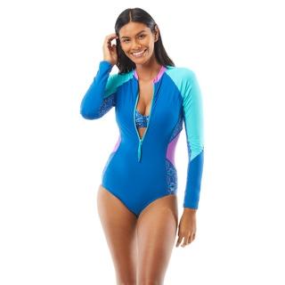 Beach House Sport Sculpt Long Sleeve Zip Front One Piece Swimsuit - Peace of Mind