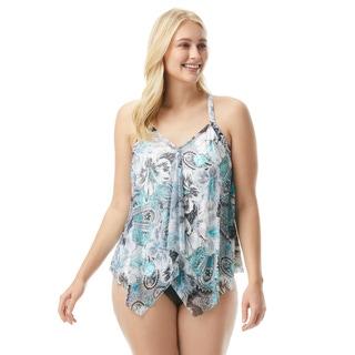 Beach House Plus Size Kerry Mesh Layer Underwire Tankini Top - Bohemian Bloom