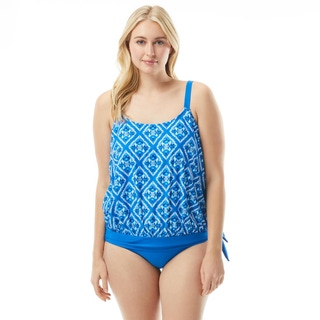 Beach House Plus Size Sarah Side Tie Blouson Tankini Top - Diamond Daze