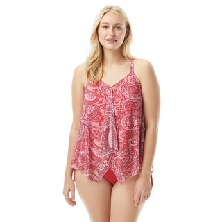 Beach House Plus Size Kerry Mesh Layer Underwire Tankini Top - Rise and Sunshine
