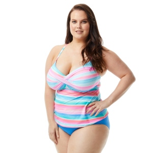 Beach House Plus Size Lucy Underwire Twist Front Tankini Top - Sunrise Sunset