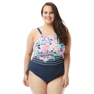 Beach House Plus Size Blair High Neck Tankini Top - Between the Lines