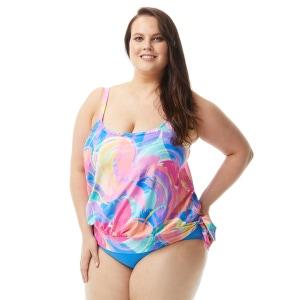 Beach House Plus Size Sarah Blouson Tankini Top - Sea Soiree