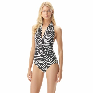 MICHAEL Michael Kors Front Twist Halter One Piece Swimsuit - Animal Blend