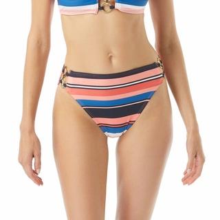 MICHAEL Michael Kors High Waist Bikini Bottom - Bright Stripe