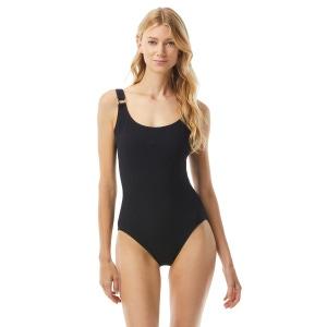 MICHAEL Michael Kors Logo Ring U-Neck One Piece Swimsuit - Solid Texture