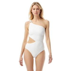 MICHAEL Michael Kors One Shoulder Cut Out One Piece Swimsuit - Decadent Texture