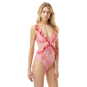 MICHAEL Michael Kors Ruffled Cut Out One Piece Swimsuit - Paisley Appeal