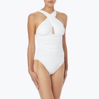 MICHAEL Michael Kors High Neck Shirred Cross Front One Piece Swimsuit - Urban Gypsy