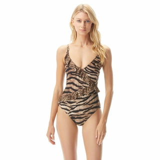 MICHAEL Michael Kors Lingerie Ruffle One Piece Swimsuit - Tiger