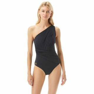 MICHAEL Michael Kors One Shoulder Shirred One Piece Swimsuit - Solids