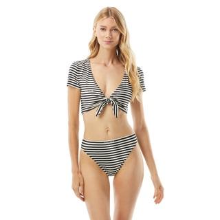 MICHAEL Michael Kors Crop Bikini Top - Logo Stripe