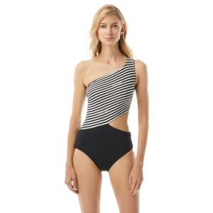 MICHAEL Michael Kors One Shoulder Cut Out One Piece Swimsuit - Logo Stripe