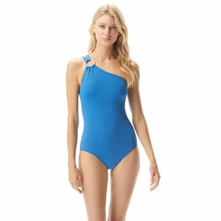 MICHAEL Michael Kors One Shoulder Underwire One Piece Swimsuit - Iconic Solids