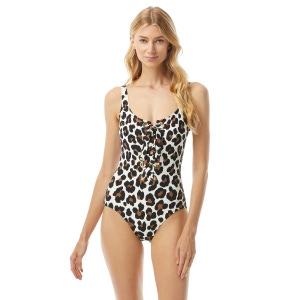 MICHAEL Michael Kors Lace Up One Piece Swimsuit - Large Leopard