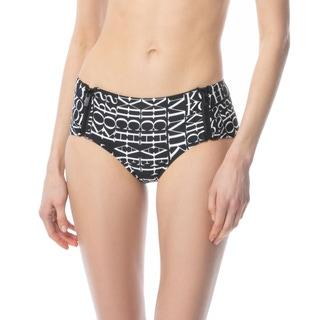 MICHAEL Michael Kors Side Zip Hipster Bikini Bottom - Cubic Logo