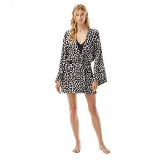 MICHAEL Michael Kors Short Kimono Cover Up - Small Leopard