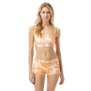 MICHAEL Michael Kors Zip Front Bralette Bikini Top - Camo