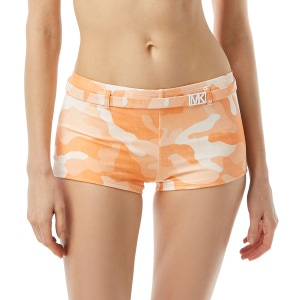 MICHAEL Michael Kors Belted Boy Short Bikini Bottom - Camo