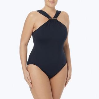 MICHAEL Michael Kors Plus Size Logo Bar High Neck One Piece Swimsuit - Essential Solids