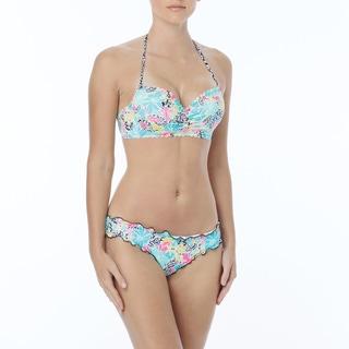 Coco Rave: The Bikini Edit - Nixie Scallop Halter Bra Sized Underwire Bikini Top - Party Hardy