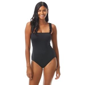 Kate Spade Mini Ruffle Square Neck Underwire One Piece Swimsuit - Cabana